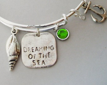 Dream Of The Sea / Sea Shell / Anchor W/ / Birthstone /  Expandable Bangle / Beach Bangle / Gift For Her  USA   Ch1