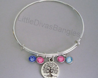 TREE Of LIFE CHARM Bangle  W/ Birthstone Drops / Gift For Her / Silver Infinity Accent / Under Twenty / Usa  TR1