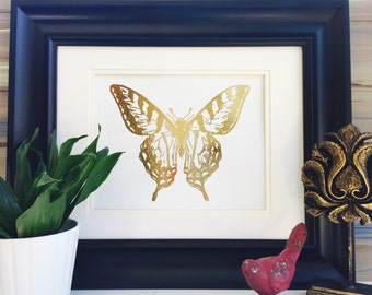 Butterfly Wall art, Wall decor, Rose Gold Art Print, Home Decor, Gold Foil printing, Unique Gift for Her