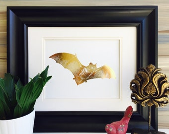 Gold Foil Print, Bat decor, Bat Print, Halloween Decor