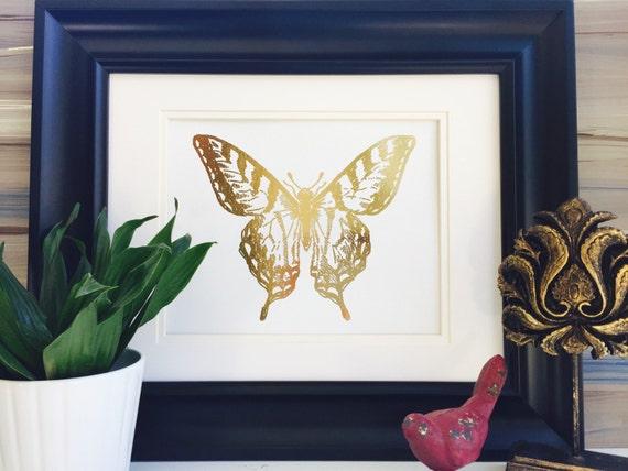 Butterfly Wall art Wall decor Rose Gold Art Print Home