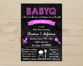 BabyQ Invitation, Baby shower girl, BabyQ girl, babyq shower invitations, baby q invitations, baby q invites, baby q shower invitation