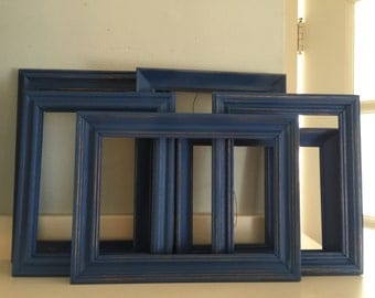 Navy Blue ,Picture Frames, Shabby Chic, Cottage, Rustic,  Distressed , The Dancing On A Cloud Collection, Set of 6