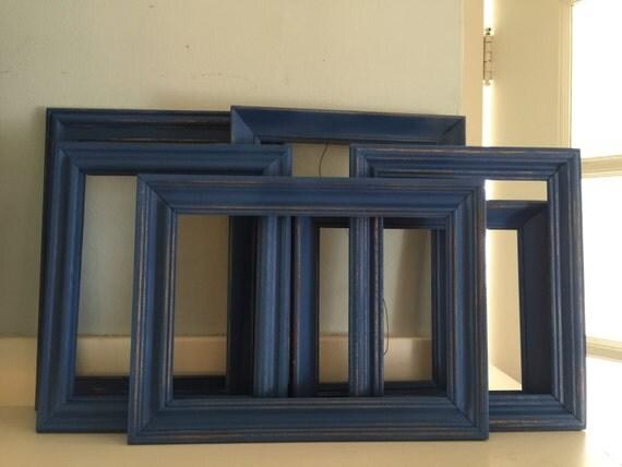 navy blue picture frames shabby chic cottage rustic. Black Bedroom Furniture Sets. Home Design Ideas