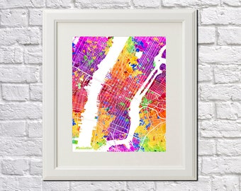 Manhattan Street Map Print Map of Manhattan New York City Street Map Manhattan Poster New York City Art Bright Colors 7004BP