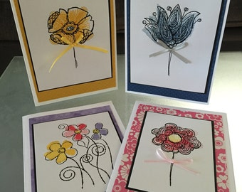 Embroidered greeting cards, set of 4