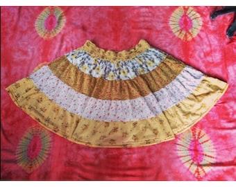 Sunshine Yellow Floral Skirt SIZE MEDIUM