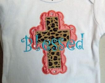Blessed Christian Little Girls Cross Onesie with Bling Religious