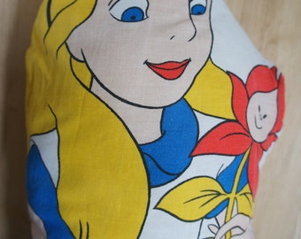 Fabulous Vintage Disney Animation Alice In Wonderland With Flower Large Decorative Pillow Cushion
