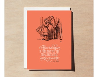 Greeting Card - Alice In Wonderland - Not Really Impossible