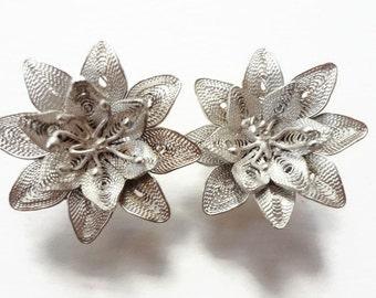 Sterling Silver Earrings, Vintage Filigree Flowers