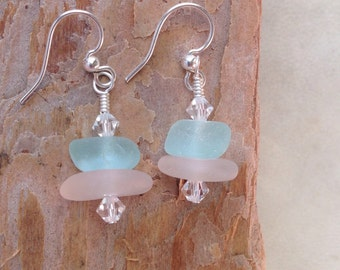 Sea Glass Earrings/Genuine Sea Glass And Swarovski Crystal Earrings/Wedding/Blue/Aqua/Beach Wedding