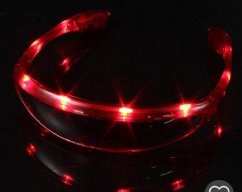 Red LED Light Up Rave Glasses