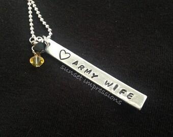Handstamped Jewlery- ARMY WIFE