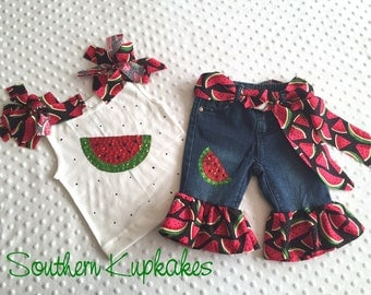 Girls Sequin Watermon Custom All sizes Yummy Slice Festival 5pc. Sparkle Outfit Handmade Red Green NWT New Boutique Pageant Summer Vacation