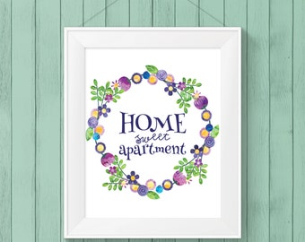 PRINTABLE WALL ART - Home Sweet Apartment - Wall Print - Downloadable Art - Home Decor - Apartment Decor