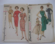 2 Vintage Sewing Patterns For Dresses Size 12 and 13, Party Dress Pattern,  Women's Suit Pattern, Sewing Instructions