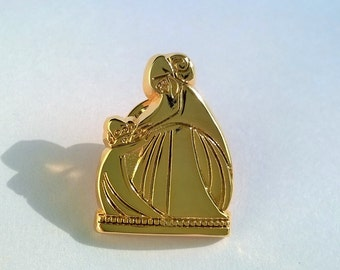 Authentic LANVIN Pin / Brooch - Jeanne Lanvin and and her daughter  Rare !