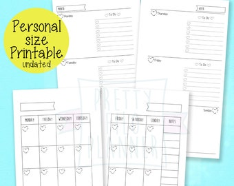 Undated Month on 2 Pages  and Week on 2 pages Planner Filofax Personal Size Inserts mo2p, wo2p