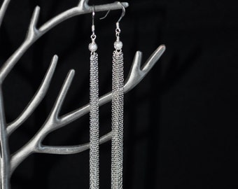 925 Sterling Silver Chains Dangle Earrings