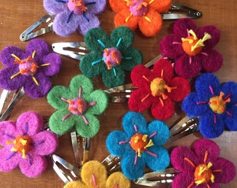 Wool Felted Flower Barrette, Hair Clip for Kids