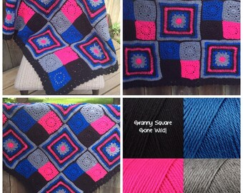 Granny Square Gone Wild! Crochet Blanket