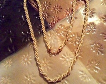 Signed Trifari Faux Pearl and Gold Tone Rope Necklace