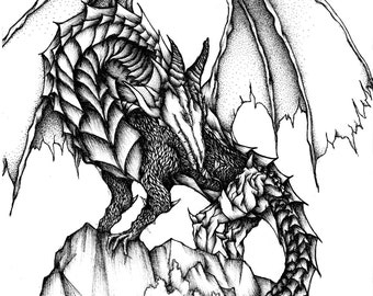 Dragon A4 Ink Drawing. Original drawing, Black and white art, Ink art, illustration, Pen and Ink, Fine art, art print, art, drawing, fantasy