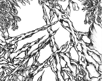 Overgrown Ink Drawing. Original art, Fine art print, Organic art, Ink Illustration, Black and white art, Pen and Ink art, Surrealism