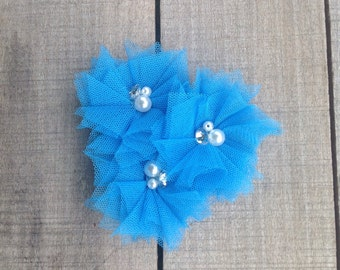 Turquoise blue flower clip, hair clip, boutique bow, tulle flower, hair accessories