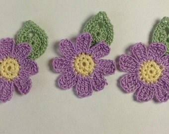 Crocheted Flower and Leaf Appliqués - set of 3 (#06-09)