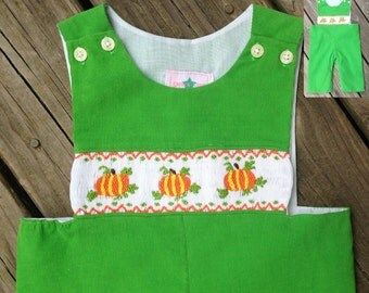 Smocked Pumpkin Longall, Smocked Longall, Smocked Boys Outfits
