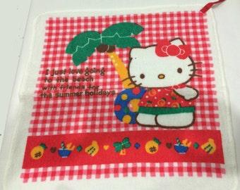 Vintage Sanrio Hello Kitty towel made in Japan 1987