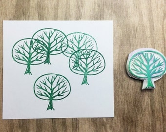 Tree stamp, tree hand carved stamp, tree rubber stamp, forest stamp, handmade stamp, card making supplies