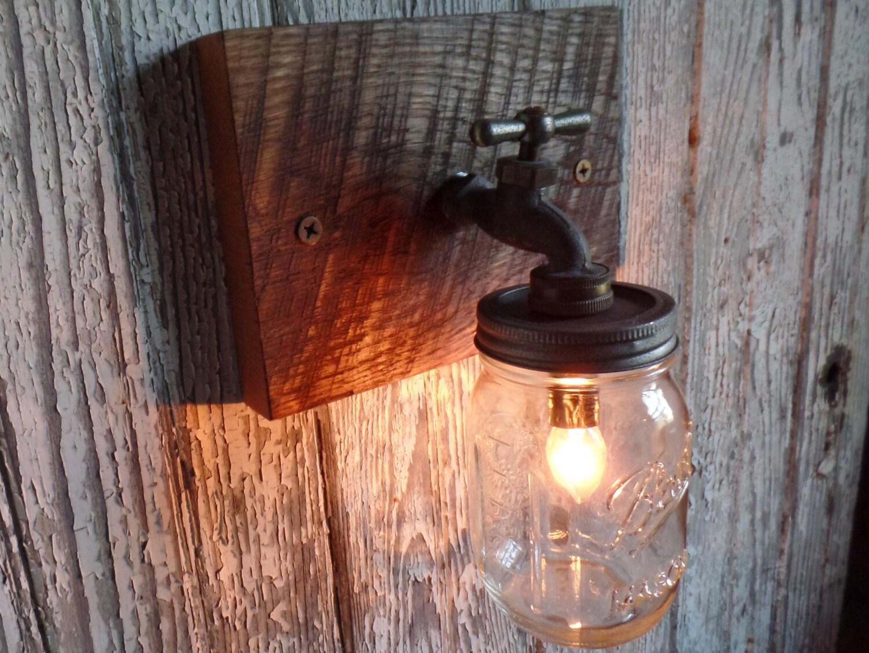 8 mason jar light fixture faucet style country for Plumbing light fixtures