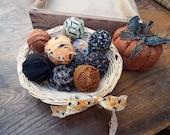 Halloween Decorations, One Dozen Primitive Halloween Rag Balls, Halloween Bowl Fillers, Fall Decor, Fabric Balls, TeamHAHA, FAAP