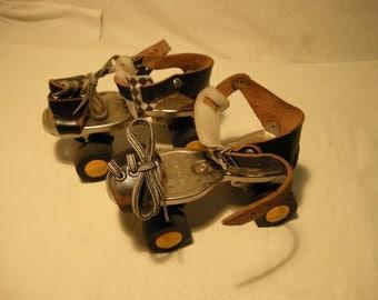 Vintage 1960's Roller - Skates With Black Leather Straps.Brand:GERMINA - DDR