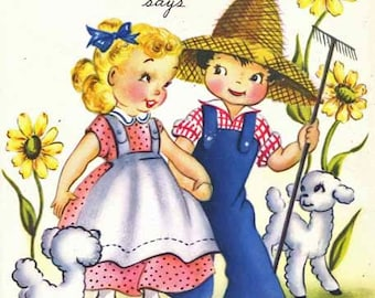 Vintage Farmer in The Dell Nursery Rhyme Get Well Card with musical Insert
