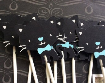 12 Coal the Cat Cupcake toppers