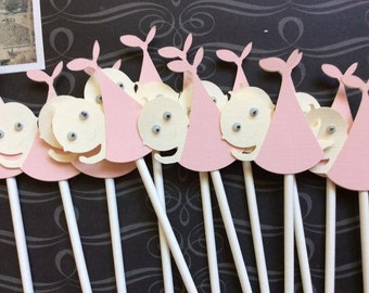 12 Adorable Baby Girl Stork Delivery with Googly Eyes Cupcake toppers