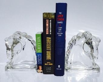 Vintage Art Deco Glass Horse Bookends