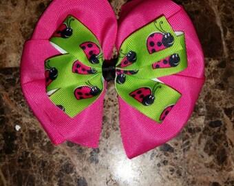 Pink Ladybug Bow