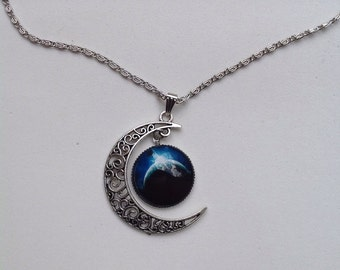 Moon Galaxy Universe Glass Cabochon Pendant Necklace. Fast Shipping from USA.