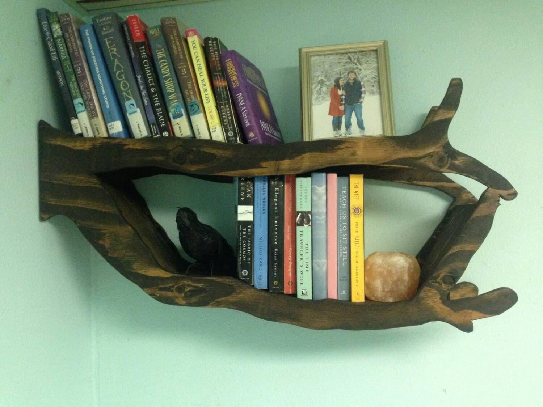 Handmade tree branch bookshelf for bedroom living room or for Tree of life bookshelf