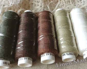 Five spools of linen thread - natural and browns colourway sewing lace jewelry