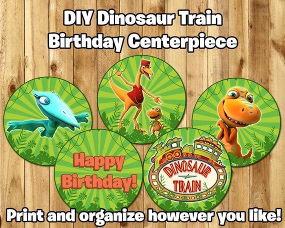 DIY Dinosaur Train Centerpiece includes Unique Designs and Numbers Download Print Cut Dinosaur Train Birthday Decoration Centerpiece