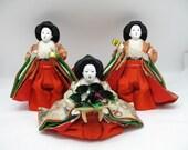 Japanese Vintage Doll#Hina-Ningyo Set 3 Servants Kanjyo#0703