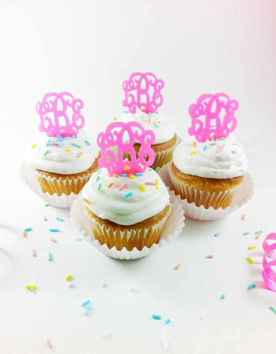 Monogram Cupcake Topper - Perfectly Personalized Party - Set of SIX