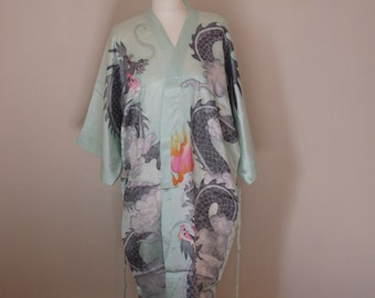 dragon kimono Japanese Chinese dressing gown robe hand painted
