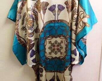 blue kaftan dress summer dress holiday dress hospital gown